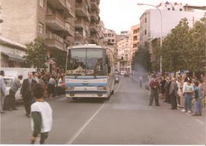Llegada del autobús con los jugadores del C.D.Abarán